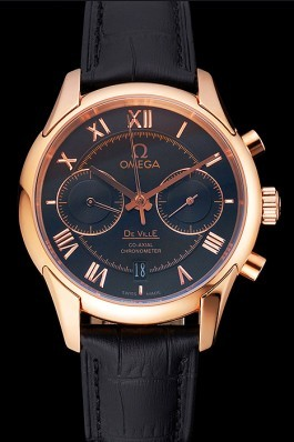 Omega DeVille Rose Gold Bezel with Black Dial and Black Leather Strap 621569 Omega Replica Watch
