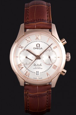 Omega DeVille Rose Gold Bezel with White Dial and Brown Leather Strap 621570 Omega Replica Watch