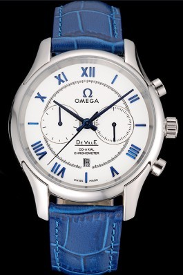 Omega DeVille Silver Bezel with White Dial and Blue Leather Strap 621568 Omega Replica Watch