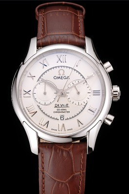 Omega DeVille Silver Bezel with White Dial and Brown Leather Strap 621566 Omega Replica Watch