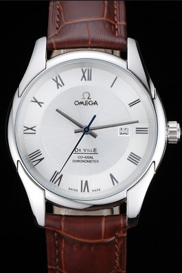Omega DeVille Silver Dial Stainless Steel Case Brown Leather Strap 622830 Omega Replica Watch