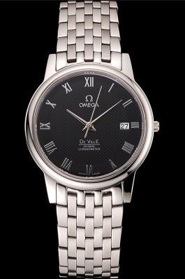 Omega DeVille Stainless Steel Bracelet Black Dial 621685 Omega Replica Watch