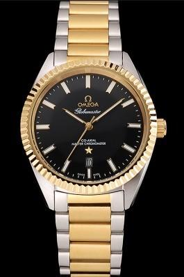 Omega Globemaster Black Dial Stainless Steel Case Gold Bezel Two Tone Bracelet Best Omega Replica