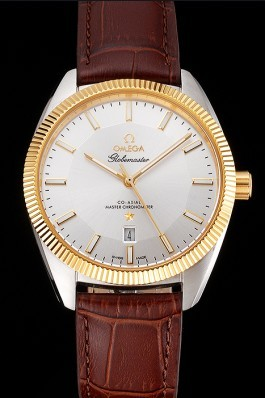 Omega Globemaster Silver Dial Gold Bezel Stainless Steel Case Brown Leather Strap Best Omega Replica