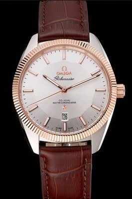 Omega Globemaster Silver Dial Rose Gold Bezel Stainless Steel Case Brown Leather Strap Best Omega Replica