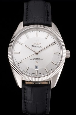 Omega Globemaster Silver Dial Stainless Steel Case Black Leather Strap Best Omega Replica