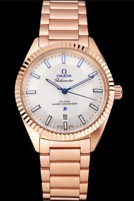 Omega Globemaster White Dial Rose Gold Case And Bracelet Best Omega Replica