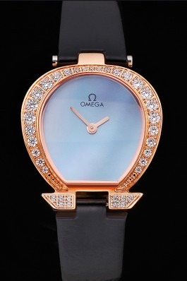 Omega Ladies Watch Blue Dial Gold Case With Diamonds Black Leather Strap 622830 Omega Replica Watch