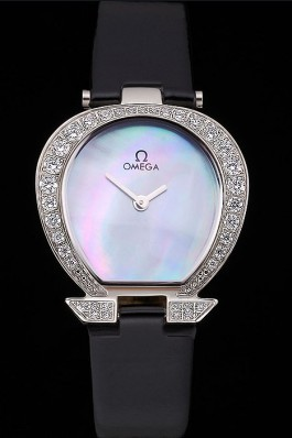 Omega Ladies Watch Pearl Dial Stainless Steel Case With Diamonds Black Leather Strap 622828 Omega Replica Watch