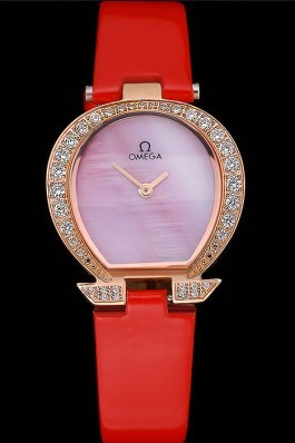Omega Ladies Watch Pink Dial Gold Case With Diamonds Red Leather Strap 622831 Omega Replica Watch