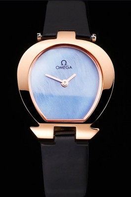 Omega Ladies Watch Sky Blue Dial Gold Case Black Leather Strap 622821 Omega Replica Watch