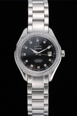 Omega Seamaster Aqua Terra Black Dial Diamond Case Stainless Steel Bracelet 622449 Omega Replica Seamaster