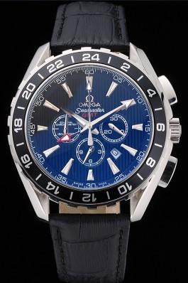 Omega Seamaster Aqua Terra Chrono GMT Black Dial Black Leather Bracelet 622535 Omega Replica Seamaster