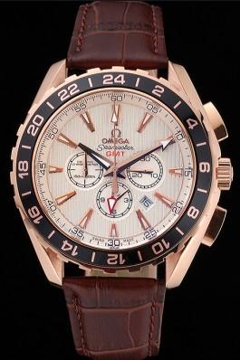 Omega Seamaster Aqua Terra Chrono GMT Ivory Dial Brown Leather Bracelet 622534 Omega Replica Seamaster