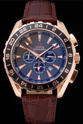 Omega Seamaster Aqua Terra Chrono GMT Teak-Grey Dial Brown Leather Bracelet 622536 Omega Replica Seamaster