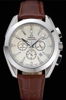 Omega Seamaster Aqua Terra Chronograph Ivory Dial Brown Leather Bracelet 622529 Omega Replica Seamaster