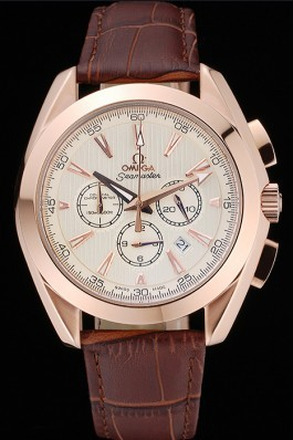 Omega Seamaster Aqua Terra Chronograph Ivory Dial Gold Case Brown Leather Bracelet 622530 Omega Replica Seamaster