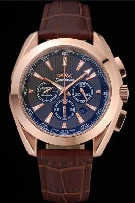 Omega Seamaster Aqua Terra Chronograph Teak-Black Dial Brown Leather Bracelet 622531 Omega Replica Seamaster