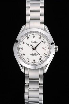 Omega Seamaster Aqua Terra White Dial Diamond Numerals Stainless Steel Bracelet 622444 Omega Replica Seamaster