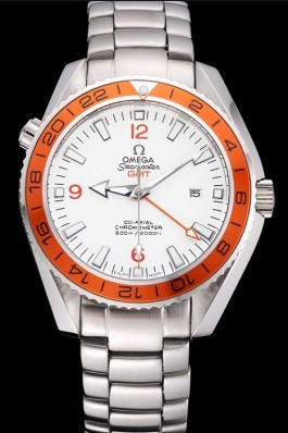 Omega Seamaster GMT White Dial Orange Bezel Stainless Steel Case 622718 Omega Replica Seamaster