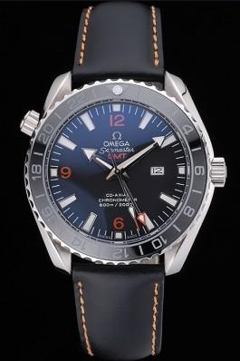 Omega Seamaster Planet Ocean GMT Black Dial Black Leather Band 622393 Omega Replica Seamaster