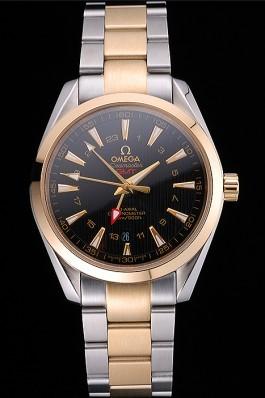 Omega Seamaster Planet Ocean GMT Black Dial Two Tone Band 622396 Omega Replica Seamaster