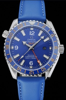 Omega Seamaster Planet Ocean GMT Blue Dial Blue Leather Band 622394 Omega Replica Seamaster