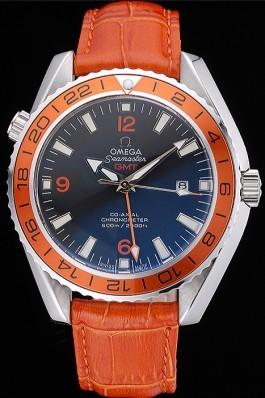 Omega Seamaster Planet Ocean GMT Orange Dial Orange Leather Band 622395 Omega Replica Seamaster