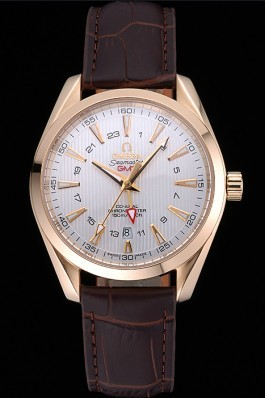 Omega Seamaster Planet Ocean GMT White Dial Gold Case Brown Leather Band 622399 Omega Replica Seamaster