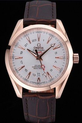 Omega Seamaster Planet Ocean GMT White Dial Rose Gold Case Brown Leather Band 622400 Omega Replica Seamaster