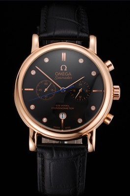 Omega Seamaster Vintage Chronograph Black Dial Diamond Hour Marks Rose Gold Case Black Leather Strap Omega Replica Seamaster
