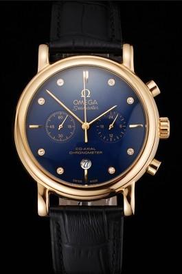 Omega Seamaster Vintage Chronograph Blue Dial Diamond Hour Marks Gold Case Black Leather Strap Omega Replica Seamaster