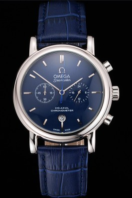 Omega Seamaster Vintage Chronograph Blue Dial Stainless Steel Case Blue Leather Strap Omega Replica Seamaster
