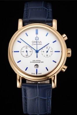 Omega Seamaster Vintage Chronograph White Dial Blue Hour Marks Gold Case Blue Leather Strap Omega Replica Seamaster