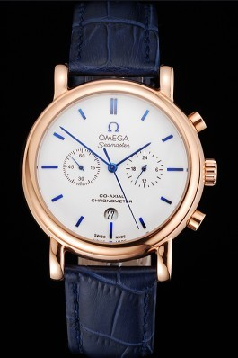 Omega Seamaster Vintage Chronograph White Dial Blue Hour Marks Rose Gold Case Blue Leather Strap Omega Replica Seamaster