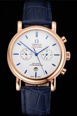 Omega Seamaster Vintage Chronograph White Dial Blue Hour Marks Rose Gold Case Blue Leather Strap Omega Replica Seamaster