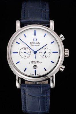 Omega Seamaster Vintage Chronograph White Dial Blue Hour Marks Stainless Steel Case Blue Leather Strap Omega Replica Seamaster