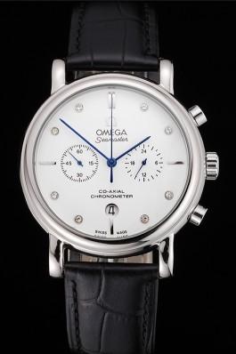 Omega Seamaster Vintage Chronograph White Dial Diamond Hour Marks Stainless Steel Case Black Leather Strap Omega Replica Seamaster