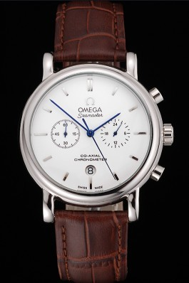 Omega Seamaster Vintage Chronograph White Dial Stainless Steel Case Brown Leather Strap Omega Replica Seamaster