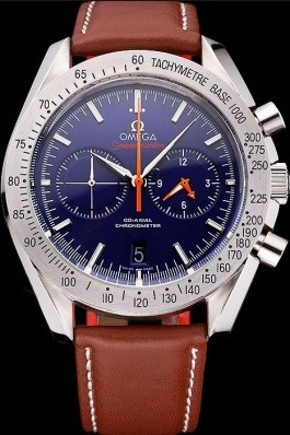 Omega Speedmaster Blue Dial Stainless Steel Case Brown Leather Strap 622807 Omega Speedmaster Replica