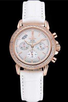 Omega Speedmaster Chronograph White Dial Gold Diamond Case White Leather Bracelet 622455 Omega Speedmaster Replica