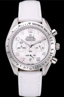 Omega Speedmaster Chronograph White Dial White Leather Bracelet 622452 Omega Speedmaster Replica