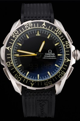 Omega Speedmaster Skywalker X-33 Black Dial Yellow On Black Bezel Stainless Steel Case Black Rubber Strap Omega Speedmaster Replica