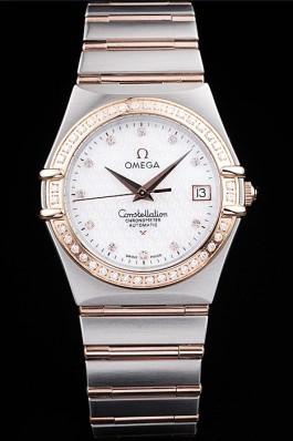 Omega Swiss Constellation Jewelry Diamond Case Omega Emblem White Dial 98111 Best Omega Replica