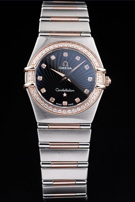 Omega Swiss Constellation Jewelry Diamond Case Radial Emblem Black Dial 98113 Best Omega Replica