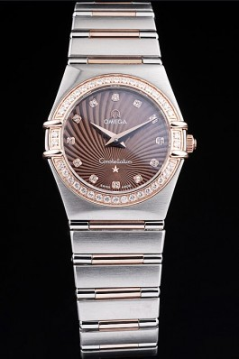 Omega Swiss Constellation Jewelry Diamond Case Radial Emblem Brown Dial 98117 Best Omega Replica