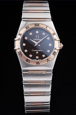 Omega Swiss Constellation Jewelry Rose Gold Case Black Dial 98114 Best Omega Replica
