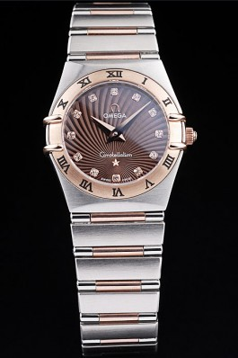 Omega Swiss Constellation Jewelry Rose Gold Case Radial Emblem Brown Dial 98116 Best Omega Replica