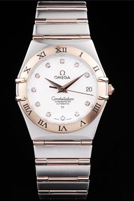 Omega Swiss Constellation Jewelry Rose Gold Case Radial Emblem White Dial  Best Omega Replica