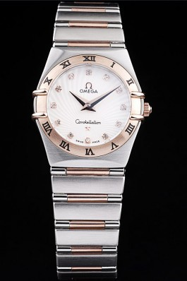 Omega Swiss Constellation Jewelry Rose Gold Case Small Radial Emblem White Dial Best Omega Replica
